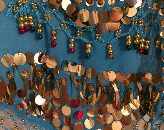 Sparkly Belly Dancer Halter Top with Sequins, Beads, Bells