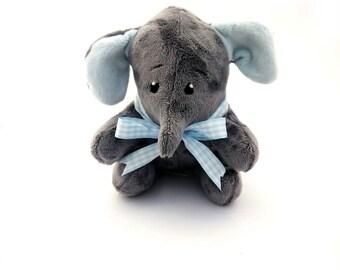 Elephant. Plush elephant toy. Handmade stuffed elephant. Cuddly elephant. Exclusively Handmade