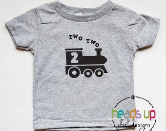 Two Two Train Bithday Shirt - Toddler Boy/Girl 2nd Birthday Shirt Train - Two Birthday Tee Toddler Two Two Train - Second Bday - Trendy Gift