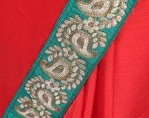 Crape-georgette saree with dark green dabka border