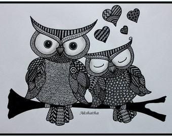 Owl Zentangle, Zentangle Art, Pen and Ink, Doodle Art, Animal Art, Owl Drawing
