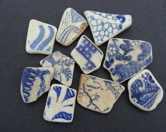 10 English Sea Pottery Shards  - Collector or Mosaic -  Artifact..(001)