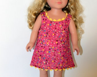 Polka dot and star multicolored sundress for 18 inch dolls