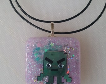 Space Invader Square Resin Pendant (purple)