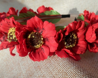 Bridal Accessories, Wreath for brides Wedding accessories Ukrainian wreath handmade Red poppies poppy Український віночок Вінки з квітами