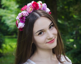 Pink vinok / ukrainian flower girl headpiece / ukraine flower crown / pink rose crown / floral adult  headband /