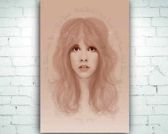 Stevie Nicks Illustration Art Print on Canvas