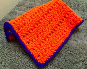 Crochet Pet Blanket, Dog Blanket, Crocheted Dog Blanket, Cat Blanket, Pet Afghan, Clemson Dog