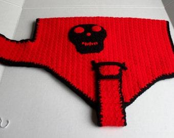 Crocheted Dog Sweater Lg, Red Dog Sweater,Gothic,Lg Dog Sweater,Skull