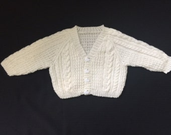 Hand Knit Baby Sweater - Baby Boy Cardigan - Perfect for Baby Showers/New Mom - Baby Clothing - Knit Sweater - Cream