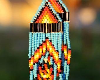 Blue Native American Seed Bead Earrings