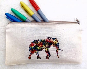 African Elephant pencil case, Printed make up bag, colourful patterned pencil case, teacher gift, elephant case,