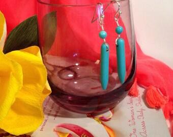 Turquoise spike dangle