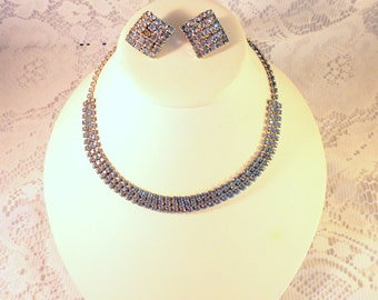 Vintage Ice Blue Rhinestone Demi Parure In Silver Tone Setting - Choker Necklace & Clip Earrings