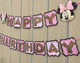 Minnie Mouse Leopard/Light Pink Happy Birthday Banner