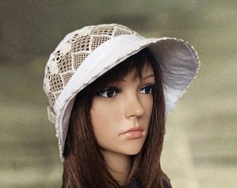 Summer cloche hats, White linen hats, Sun cotton hats, Cotton lace hats, Cloche hats lady, Pure cotton hats, Organic linen hats