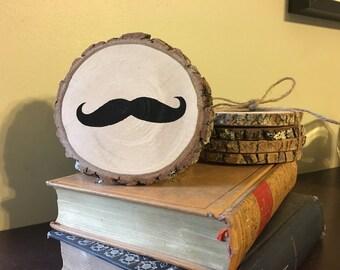 Handpainted Mustache Coasters