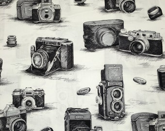 Black & White Vintage Camera Photography Designer Apparel Quilting 100% Cotton Fabric 1 Yard