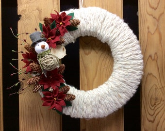 Christmas, winter  yarn wrapped wreath