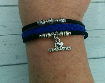 Girl's Custom Sports Bracelet// Black & Navy Friendship Bracelet// Gymnastics Charm // Gymnastics Gift// Choose ONE Charm and Cord Colors