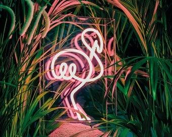 Pink Flamingo neon sign - freestanding neon light