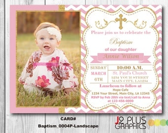 Photo Baptism Invitation with Photo, Baptism Invitation Girl, Christening Invitation, Baby Dedication Invitation, Religious Invitations