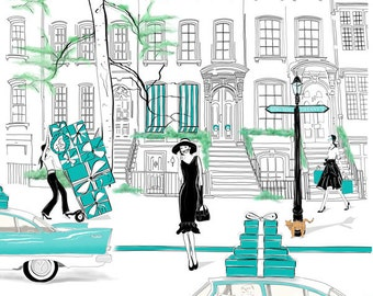 Holly's Street, Breakfast at Tiffany's Limited Edition Print, Unframed Fashion Illustration, Free Shipping Worldwide, A4 to A1 available
