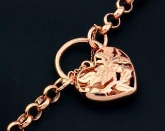 Gorgeous 18 ct rosegold plated belcher heart locket bracelet