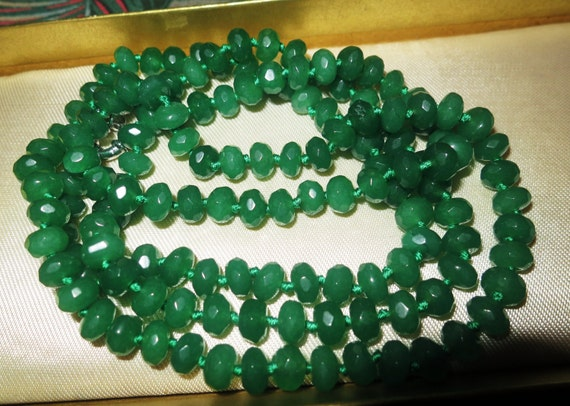 Lovely knotted faceted raw emerald longline necklace 36""