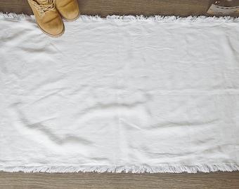 Handmade Linen rug - Rustic linen double-layered rug - Pure linen bath / bed rug - Simple Rough linen mat with fringe - Sauna linen rug