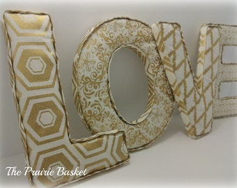 Set of 4 Gold and Cream Fabric Covered Letters LOVE Shelf Decoration, front and back covered -  Ready to Ship