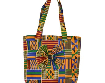 African Kente Print Tote Bag with Bow