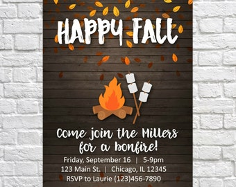 Printable Fall Party Invitation, Fall Party Invite, Bonfire Invitation, Autumn Harvest, Harvest Party, Fall Fest, Smores, Fall Leaves Invite