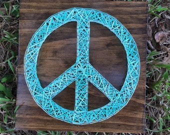 MADE TO ORDER - Peace Sign String Art Wooden Board