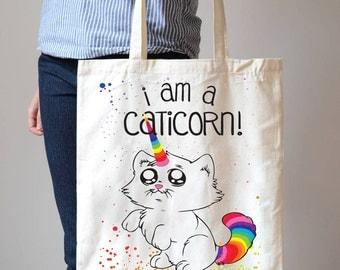 Caticorn Unicorn Rainbow Colours Shopping Cotton bag Fashion Tote Bags T2