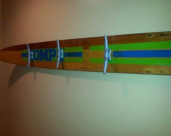 Vintage Water Ski Coat Rack Lake House Decor Beach House Towel Rack Pool House Repurposed Ski Upcycled Coat Rack Boat House Nautical Gift