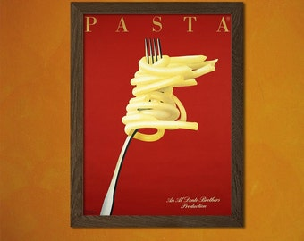Printed on textured bamboo Art paper - Pasta Poster  Vintage Kitchen Poster Alcohol Drink Retro   Art Prin  bp