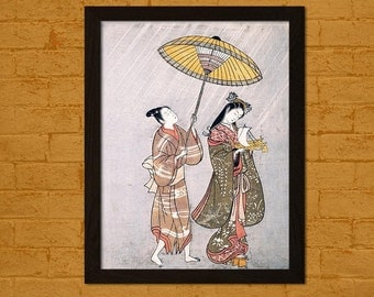 Japanese Art Print Komachi Praying for Rain 1765 Amagoi Komachi Ukiyo-e Posters  Japan Oriental Art Repro