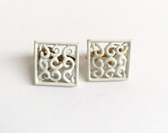 Vintage Trifari White Lace Square Earrings