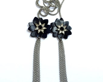 nOir Clear Rhinestone And Black Leather Flower Lariat