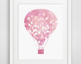 Hot Air Baloon Print, Printable Decor, pink prints, heart prints, pink hot air baloon, printable, hot air balloon printable, nursery decor