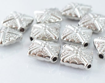 10x12mm Matte Silver Engraved Decorative Alloy Beads,10pcs/PK, 2m hole 5m thickness