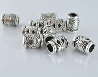 10x7mm Sunflower Antique Silver Metal Beads, Sold by 1 pack of 10pcs, 3mm hole opening, 1mm bead thickness