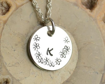 """Handmade Personalised Silver Pendant with 18"""" Silver Chain"""