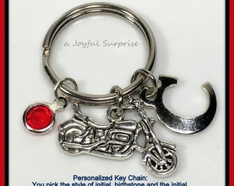 Personalized Motorcycle Keychain, Motorcycle Key chain, Silver Motorycle Keyring, Gift for Bikers Gift, Harley Inspired 121