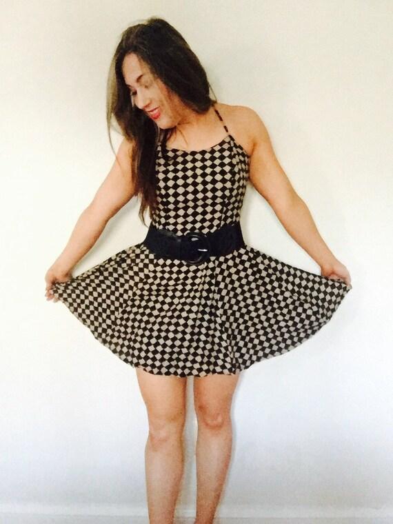 Checkered Dress/spaghetti straps/vintage checkered dress/VTG