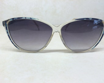 vintage sunglasses - 1980s sunglasses - 1980s eyewear - Acetate glasses - animal print sunglasses - blue sunglasses - clear frame glasses