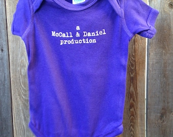 Personalized Baby bodysuit, a mom & dad production bodysuit