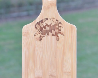 Maryland Crab Cutting Board / Cheese Serving Board, Laser Engraved