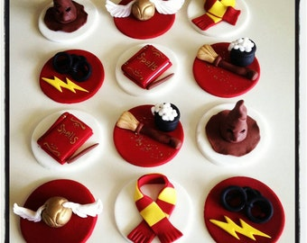 12 x harry potter themed cupcake toppers - birthday party